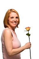 Mature woman holding a rose