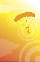 Low angle view of a man hanging with a parachute