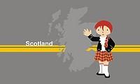 Girl wearing traditional Scottish clothing