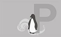 The letter P with a penguin