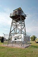 World War 2 German Prisoner of War POW internment camp museum in Holdrege, NE, Nebraska Guard Tower. USA