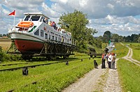 A system of rail-mounted cable trolleys on skipways and traditional locks are connecting the various sections of the Elblag Canal. A 100 metre differe...