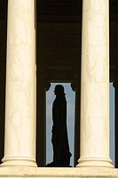 Statue of Thomas Jefferson inside the portico of the Jefferson Memorial, the Tidal Basin, Washington, District of Columbia, USA