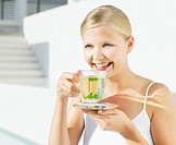Woman with peppermint tea