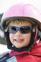 4 Year Old Girl Wearing a Ski Helmet, North Vancouver, B C