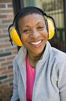 African American woman wearing hearing protection, Vancouver, BC
