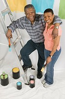 African American Couple Doing Home Improvement Painting, Canada, British Columbia