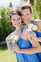 Newlywed lesbian couple smiling
