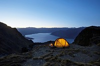 Tent by lakeshore at dusk (thumbnail)