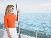 Middle_aged woman on yacht