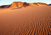 Sand dune patterns of Tadrart Acacus desert. Libya