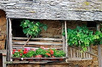 Typical balcony. El Bierzo, Leon province, Castilla-Leon, Spain