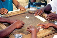 Domenican Republic, Sanchez, men playing dominos