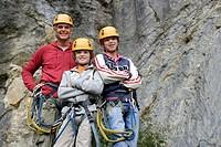 Family in rock climbing gear