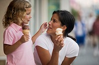 Mother and daughter with ice cream cones