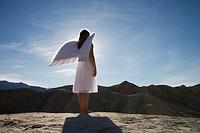 Woman wearing angel wings standing on rocks, full length