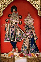 Radha Krishna Miniature Painting on Paper Golden Embossing