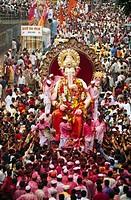 statue of Lalbaugcha Raja , Ganesh ganpati Festival Immersion Visarjan , Mumbai Bombay , Maharashtra , India