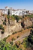 Houses on the ´tajo´ edge, Ronda. Malaga province, Andalucia, Spain