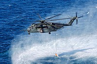 PERSIAN GULF (April 16, 2007) - An MH-53E Sea Dragon assigned to Helicopter Mine Counter Measure Squadron (HM) 15 conducts a mine sweeping exercise. H...