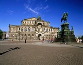 geography / travel, Germany, Saxony, Dresden, theatre, Semper Opera House, architect Gottfried Semper, built 1838-1841, exterior view, theatre square,...