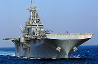 USS Boxer (LHD 4) prepares to come alongside USNS Supply (T-AOE 6) for an underway replenishment Nov. 22, 2006. Boxer and Supply are under way in U.S....