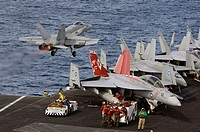 PACIFIC OCEAN (July 28, 2007) - An F/A-18C Hornet assigned to the Golden Dragons of Strike Fighter Squadron (VFA) 192 launches from the flight deck of...