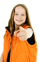 Girl pointing with index finger