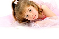 Girl in beautiful pink dress with ribbon (thumbnail)