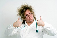 Crazy doctor showing double thumbs up