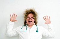 Crazy doctor smiling with his hands up