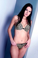 Woman in leopard print lingerie
