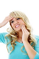 Woman having headache and toothache