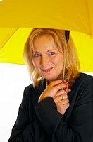 Woman holding a yellow umbrella (thumbnail)