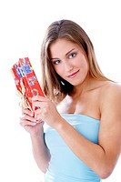 Woman holding a gift (thumbnail)