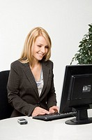 Businesswoman working happily