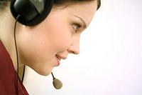 Close-up of telephone operator (thumbnail)
