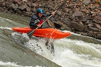Kayaker Negotiating the River (thumbnail)