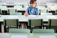 Boy in Classroom Taking Test