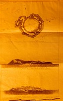 Study of Ferdinandea volcano, 1831, historical artwork  The volcano is seen from above top and from the sides centre and bottom  This volcano is in th...