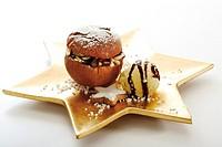 Baked apple with vanilla ice cream