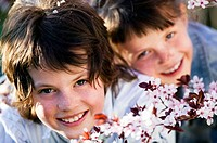 Two children outdoors, portrait