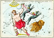 Bootes and Canes Venatici constellations  Illustrated card from a 19th century astronomical teaching aid called Urania´s Mirror, after the Greek muse ...