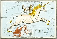 Monoceros and Canis Minor constellations  Illustrated card from a 19th century astronomical teaching aid called Urania´s Mirror, after the Greek muse ...