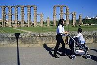 Los Milagros Roman aqueduct, Merida. Badajoz. Extremadura. Spain.