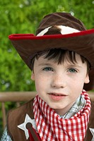 Boy 7_9 wearing cowboy costume portrait close_up