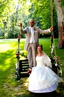 bridal couple on swing