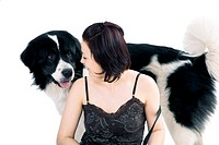 Woman and Dog With Two Different Color Eyes