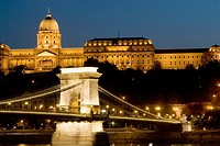 Chain Bridge and Buda Castle at dusk, Budapest, Hungary