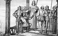 Charles V, the Wise (1338 - 1380). Reigned 1364 - 1380. The king presents his sword to Duguesdin. From the book  'Histoire de France' by Colart, publi...